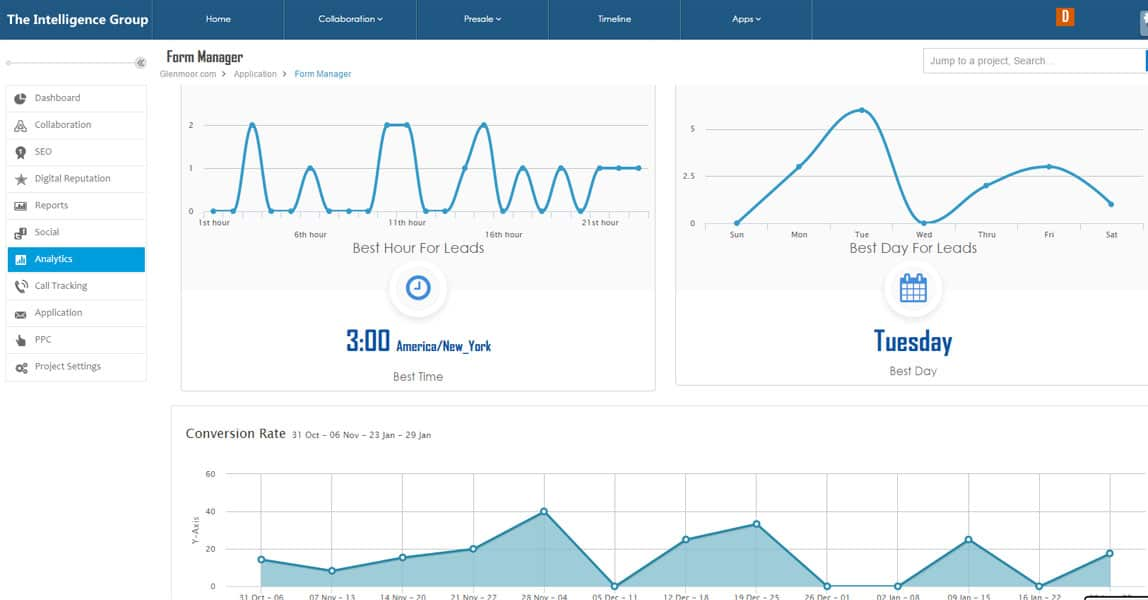 SEO client dashboard form manager.