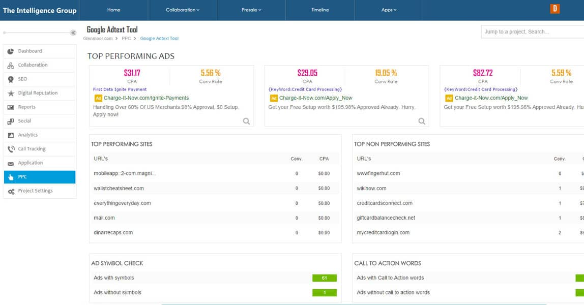 SEO client dashboard Google Adtext tool.